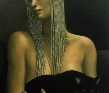 Jane Whiting Chrzanoska -Nude Woman with Beaded Headress, Black Cat and Martini